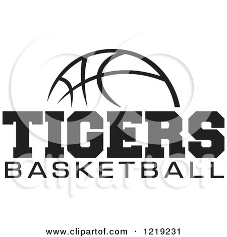 Black and white ball with tigers basketball text posters art prints