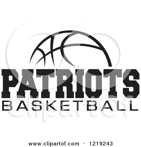Clipart of a Black and White Ball with PATRIOTS BASKETBALL Text ...
