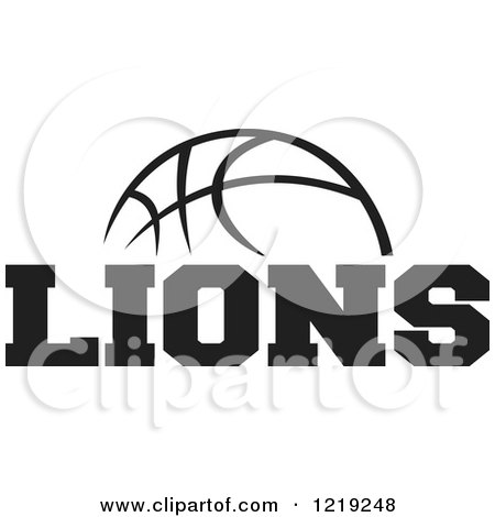 Clipart of a Black and White Ball with LIONS BASKETBALL ...