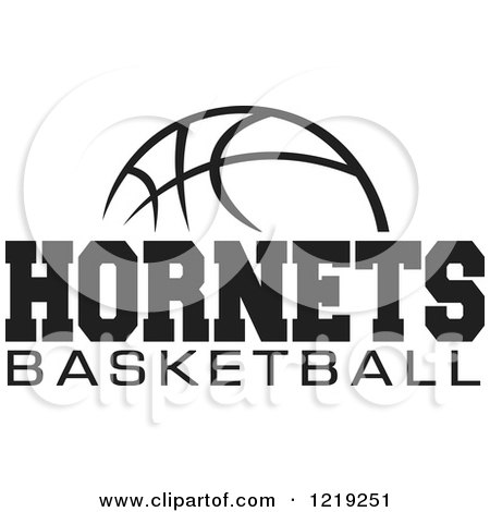 Clipart Of A Black And White Ball With HORNETS BASKETBALL