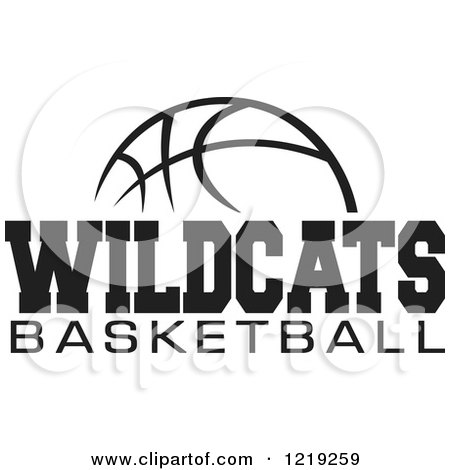 clipart of a black and white ball with wildcats basketball text rh clipartof com Wildcats Logo Designs Wildcat Logo