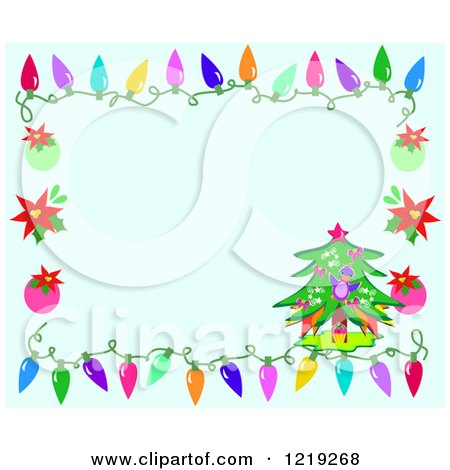 Clipart of a Blue Christmas Background Bordered with a Tree Ornaments and Lights - Royalty Free Vector Illustration by bpearth