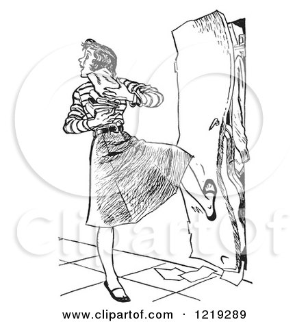 Retro Clipart of a Vintage Black and White High School Girl with Her Arms Full of Books, Kicking a Full Locker Shut - Royalty Free Vector Illustration by Picsburg