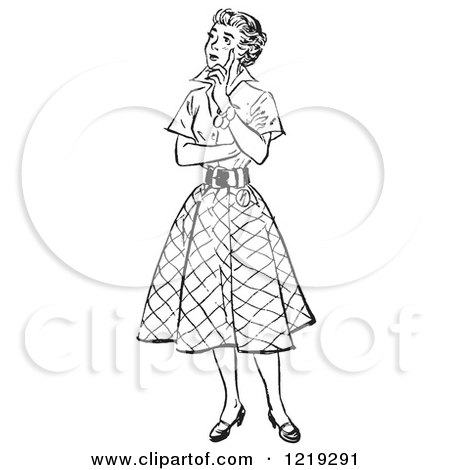Retro Clipart of a Black and White Vintage Teenage Girl Thinking - Royalty Free Vector Illustration by Picsburg