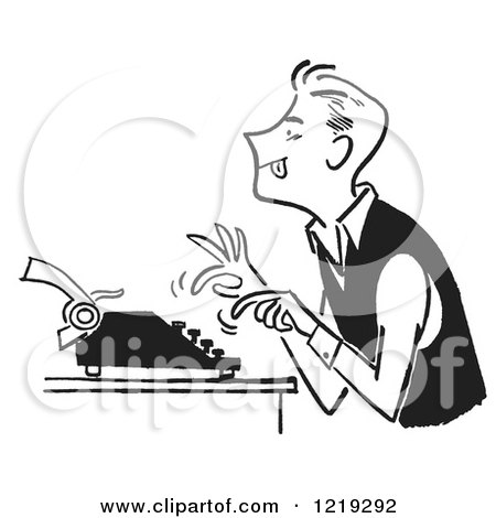Retro Clipart of a Black and White Vintage Man Using a Typewriter - Royalty Free Vector Illustration by Picsburg