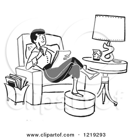 Cartoon of Black and White Lady Writing a Thoughtful Letter in a Chair - Royalty Free Vector Clipart by Picsburg
