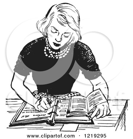 Retro Clipart of a Black and White Vintage Teenage Girl Doing Homework at a Desk - Royalty Free Vector Illustration by Picsburg