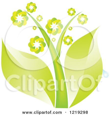 Clipart of a Plant with Green Leaves and Flowers - Royalty Free Vector Illustration by Andrei Marincas