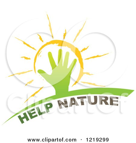 Clipart of a Hand over a Sun with Help Nature Text - Royalty Free Vector Illustration by Andrei Marincas