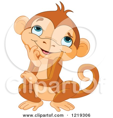 Clipart of a Cute Thinking Monkey - Royalty Free Vector Illustration by Pushkin