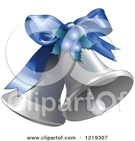Clipart of Silver Christmas Bells with a Blue Bow - Royalty Free Vector Illustration by Pushkin