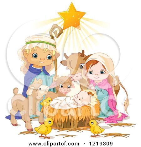 Clipart of a Star Shining on Baby Jesus Surrounded by Mary Joseph and Cute Animals - Royalty Free Vector Illustration by Pushkin