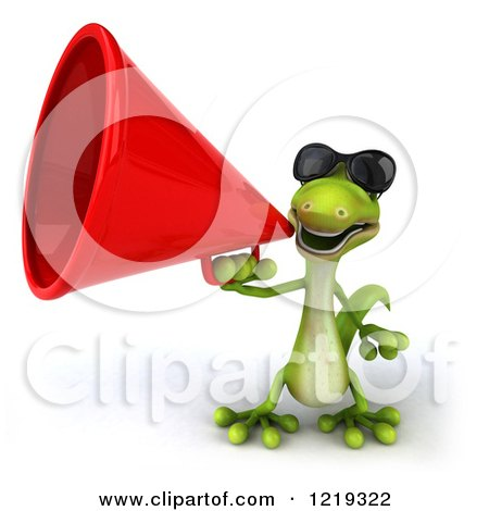 Clipart of a 3d Gecko Using a Megaphone 3 - Royalty Free Illustration by Julos