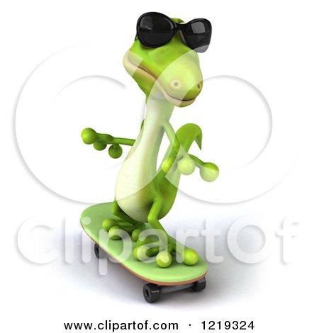 Clipart of a 3d Green Gecko Wearing Sunglasses Adn Skateboarding - Royalty Free Illustration by Julos