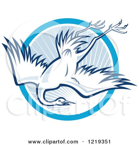 Clipart of a Retro Heron Diving over a Blue Sunny Circle - Royalty Free Vector Illustration by patrimonio