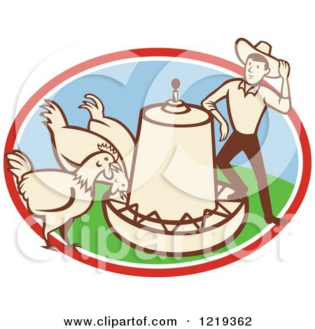 Clipart Of A Retro Cartoon Farmer With Chickens At A Feeder In An Oval Royalty Free Vector Illustration