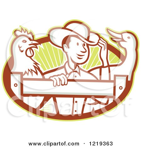 Clipart of a Retro Cartoon Farmer with a Goose and Rooster at a Fence over Rays - Royalty Free Vector Illustration by patrimonio