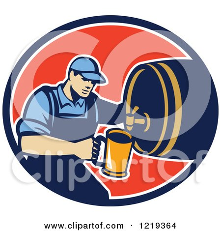 Clipart of a Retro Bartender Pouring a Beer from a Keg in an Oval - Royalty Free Vector Illustration by patrimonio
