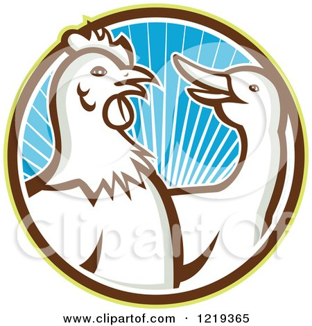 Clipart of a Retro Rooster and Goose in a Circle of Blue Sunshine - Royalty Free Vector Illustration by patrimonio
