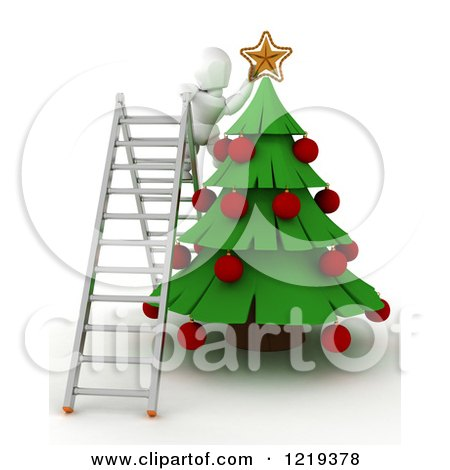 Clipart of a 3d White Character on a Ladder, Putting a Star on a Christmas Tree - Royalty Free Illustration by KJ Pargeter