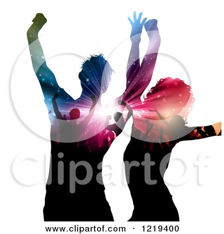 Clipart of a Dancing Couple with Silhouetted People and Lights on Their Bodies - Royalty Free Vector Illustration by KJ Pargeter