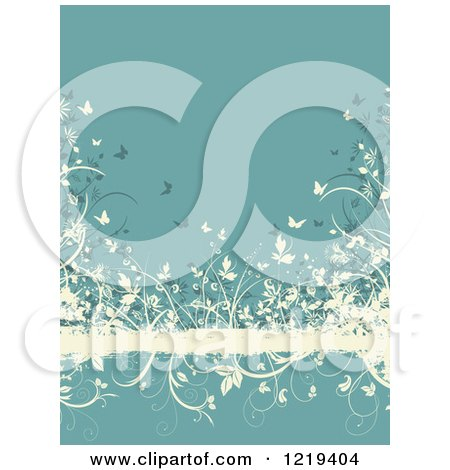 Clipart of a Turquoise and Tan Floral Grunge Background with Butterflies Foliage - Royalty Free Vector Illustration by KJ Pargeter