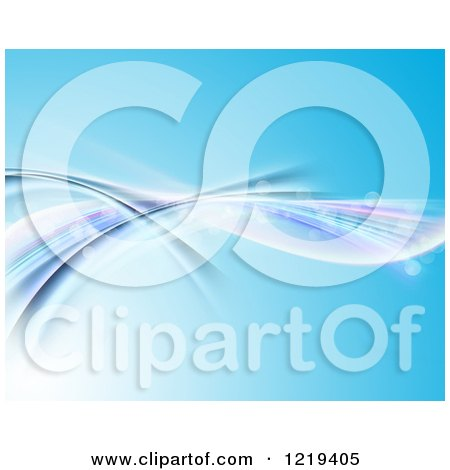 Clipart of a Blue Background with Bokeh Flares and Flowing Waves - Royalty Free Illustration by KJ Pargeter