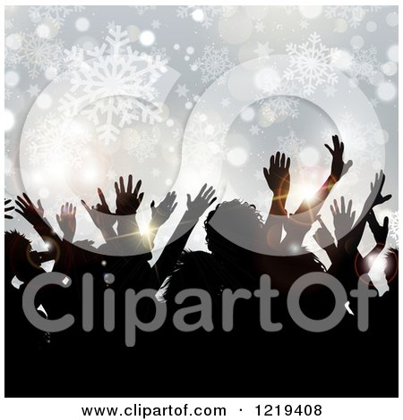 Clipart of Silhouetted People Dancing over Snowflakes and Bokeh at a Christmas Party - Royalty Free Vector Illustration by KJ Pargeter