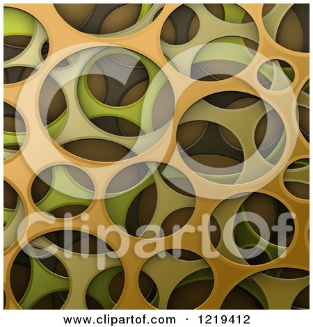 Clipart of a 3d Abstract Green and Orange Cyber Camouflage Texture - Royalty Free Vector Illustration by Oligo