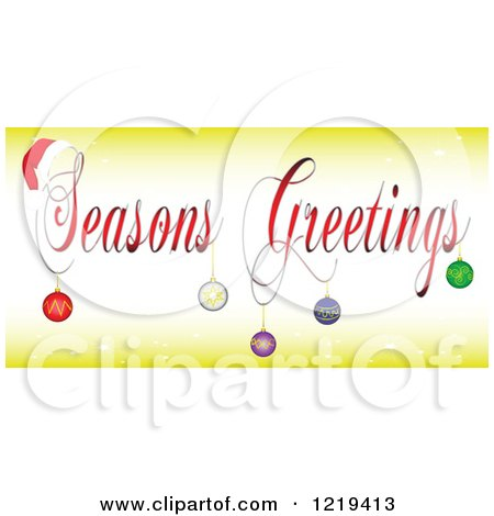 Clipart of Seasons Greetings Text with a Santa Hat and Baubles - Royalty Free Vector Illustration by tdoes