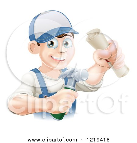 Clipart of a Happy Worker Man Wearing a Hat and Holding a Hammer and Degree - Royalty Free Vector Illustration by AtStockIllustration