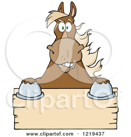 Clipart of a Brown Draft Horse over a Wooden Sign - Royalty Free Vector Illustration by Hit Toon