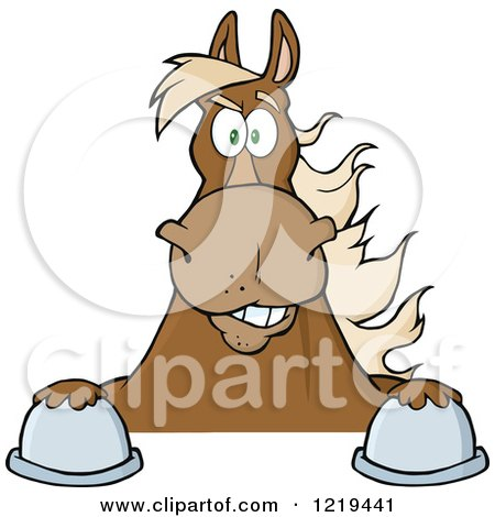Clipart of a Brown Draft Horse over a Sign - Royalty Free Vector Illustration by Hit Toon