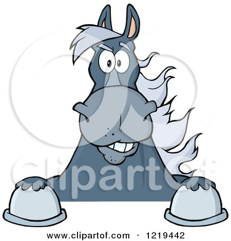 Clipart of a Gray Draft Horse over a Sign - Royalty Free Vector Illustration by Hit Toon