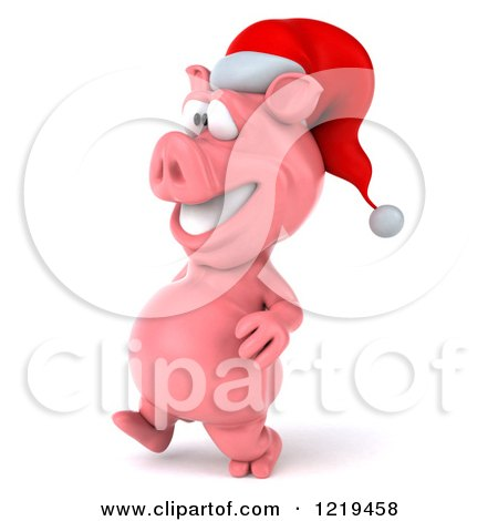 Clipart of a 3d Walking Christmas Pookie Pig Wearing a Santa Hat - Royalty Free Illustration by Julos