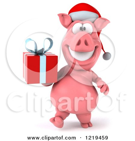Clipart of a 3d Walking Christmas Pookie Pig Carrying a Present - Royalty Free Illustration by Julos