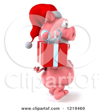 Clipart of a 3d Walking Christmas Pookie Pig Carrying a Present 2 - Royalty Free Illustration by Julos