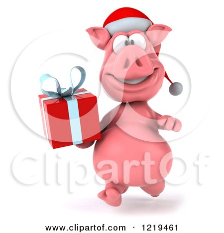 Clipart of a 3d Walking Christmas Pookie Pig Carrying a Present 3 - Royalty Free Illustration by Julos