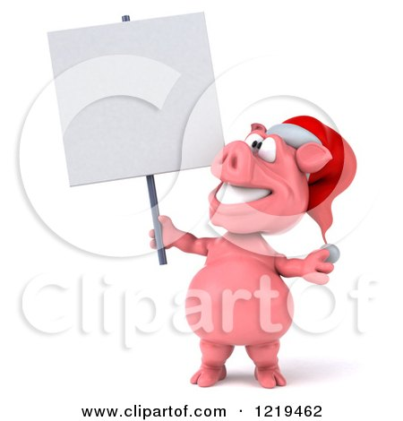 Clipart of a 3d Christmas Pookie Pig Holding a Sign - Royalty Free Illustration by Julos