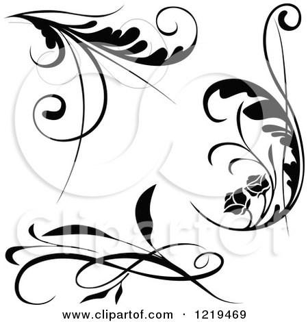 Clipart of Black and White Floral Designs - Royalty Free Vector Illustration by dero
