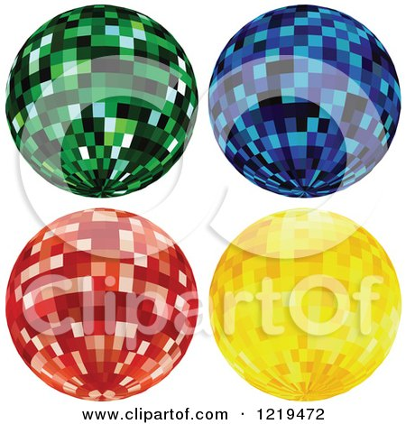 Clipart of Green Blue Red and Gold Disco Balls - Royalty Free Vector Illustration by dero