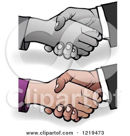 Clipart of Grayscale and Colored Shaking Hands with Shadows - Royalty Free Vector Illustration by dero