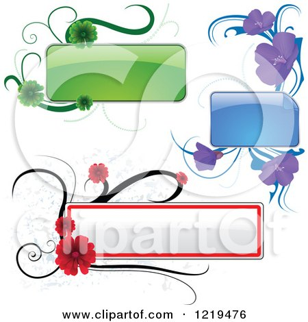 Clipart of a Green Purple and Red Text Boxes and Flowers - Royalty Free Vector Illustration by dero