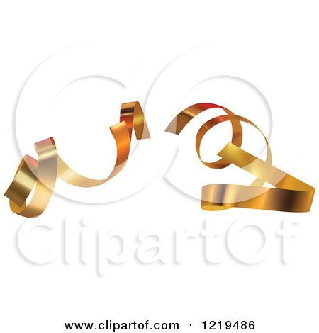 Clipart of Curly Gold Ribbons - Royalty Free Vector Illustration by dero