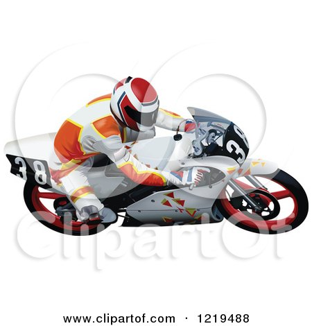 Clipart of a Man Cutting a Turn on a Motorcycle - Royalty Free Vector Illustration by dero