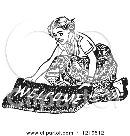 Retro Clipart of a Black and White Retro Teenage Girl Laying out a Welcome Mat for Boys - Royalty Free Vector Illustration by Picsburg