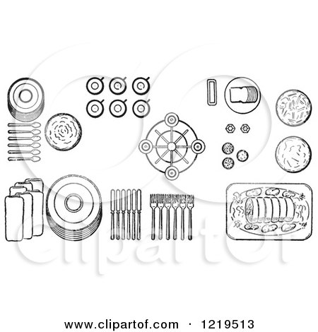 Cartoon of a Black And White Layout of Proper Place Settings of of a Buffet Table - Royalty Free Vector Clipart by Picsburg