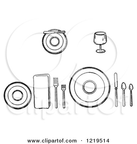 Cartoon of a Black and White Layout of Proper Place Settings of Dishes on a Table - Royalty Free Vector Clipart by Picsburg  sc 1 st  Clipart Of & Cartoon of a Black and White Layout of Proper Place Settings of ...