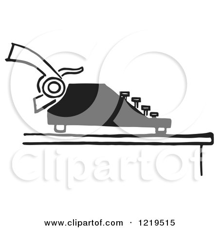 Retro Clipart of a Black and White Retro Typewriter and Page - Royalty Free Vector Illustration by Picsburg