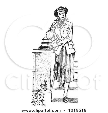 Retro Clipart of a Black and White Retro Teenage Girl Looking Thoughtful and Standing with Books on Steps - Royalty Free Vector Illustration by Picsburg